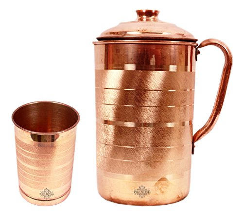 IndianArtvilla Handmade Pure Copper Silver Touch Jug Pitcher Volume 1.7 Liter…