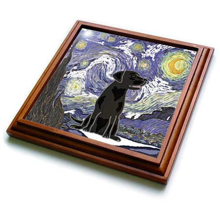 (3dRose All Smiles Art - Pets - Funny Cute Black Lab Puppy Dog in Starry Night Van Gogh Art - 8x8 Trivet with 6x6 ceramic tile (trv_317010_1))