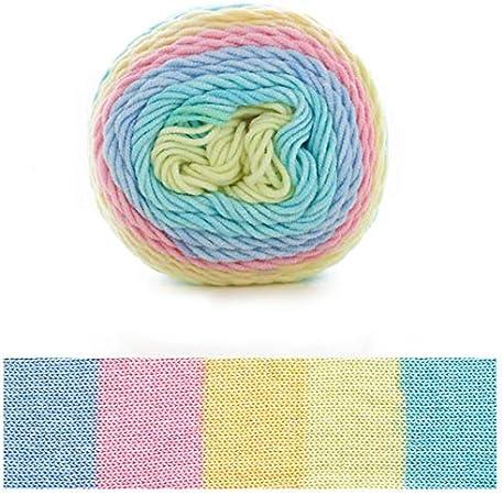 Xiuinserty - Hilo de algodón para tejer (100 g, 5 hebras, ovillo de lana de algodón tejida a mano para manta) M: Amazon.es: Hogar