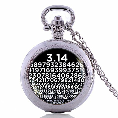 Vintage Pi Handmade Pocket Watch Necklace Numbers Pendant ,Symbol for Pi, Math Teacher Gifts, Science Jewelry-Silver Quartz Watches Chain Necklace (Symbol Math Necklace)