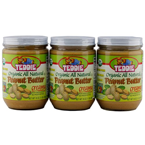 Teddie Organic All Natural Peanut Butter, Creamy 16 Ounce Jar (Pack of 3)