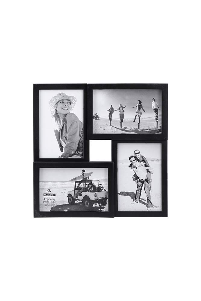 Malden International Designs Puzzle 4-Way Opening Plastic Picture Frame Collage, 4 by 6-Inch, Black 8304-446