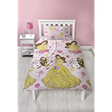 Disney Princess Belle Royal 2 Piece UK Single/US Twin Sheet Set, 1 x Double Sided Sheet and 1 x Pillowcase