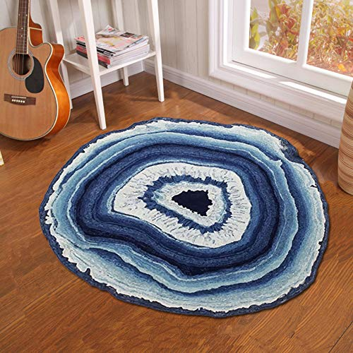 Round Carpet - Creative Tree Pier Print Round Carpet Mat Bedroom Bedside Living Room Coffee Table Hanging Basket Computer Chair Anti-Slip Mat, 100100CM (One Pier Chairs Basket)