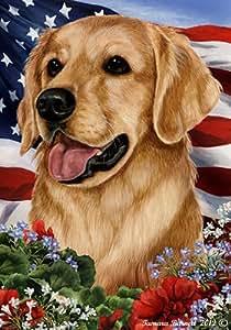 Golden Retriever–mejor de raza patriótica jardín banderas