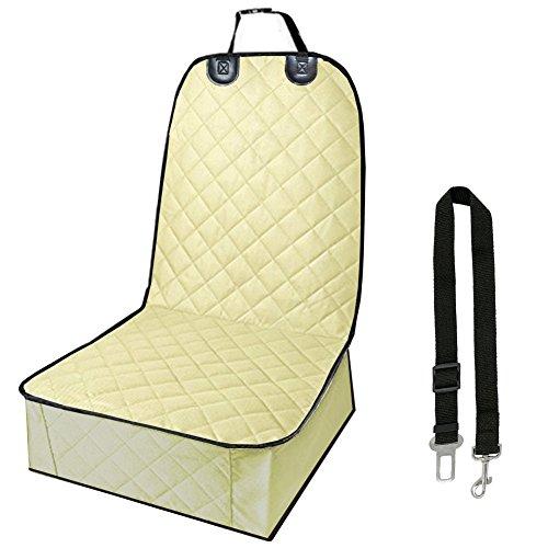 C&D Pet Front Seat Cover, Waterproof Pet Single Seat Cover Dog Front Seat Cover Car Seat Protector (Tan)
