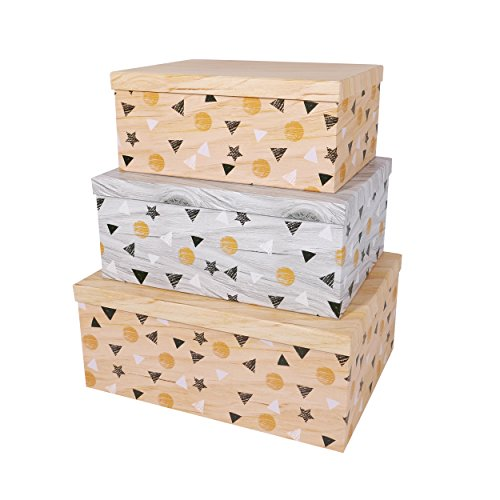 SLPR Decorative Storage Cardboard Boxes (Set of 3, Floating Triangles) | Nesting Gift Boxes with Lid for Keepsake Toys Photos Memories Closet Nursery Office Bedroom ()