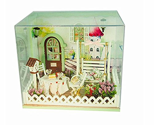 Wind Dollhouse Miniature DIY Kit Cute Room with Cover and LED 3d Wood Toy Handcraft Artwork Birthday Gift Secret Garden (Furniture Diy Garden)