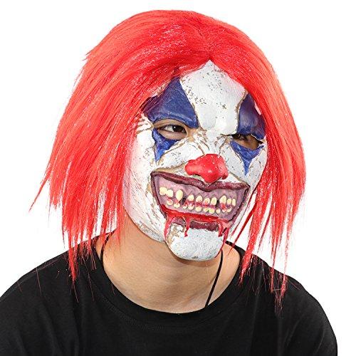 [Monstleo Latex Rubber Clown Head Mask Halloween Party Costume Decorations] (Make A Realistic Joker Costume)