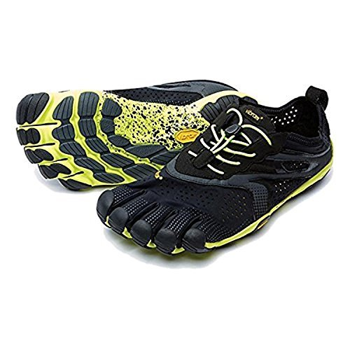 Vibram Men's V Running Shoe, Black/Yellow, 42 EU/9.0-9.5 M US