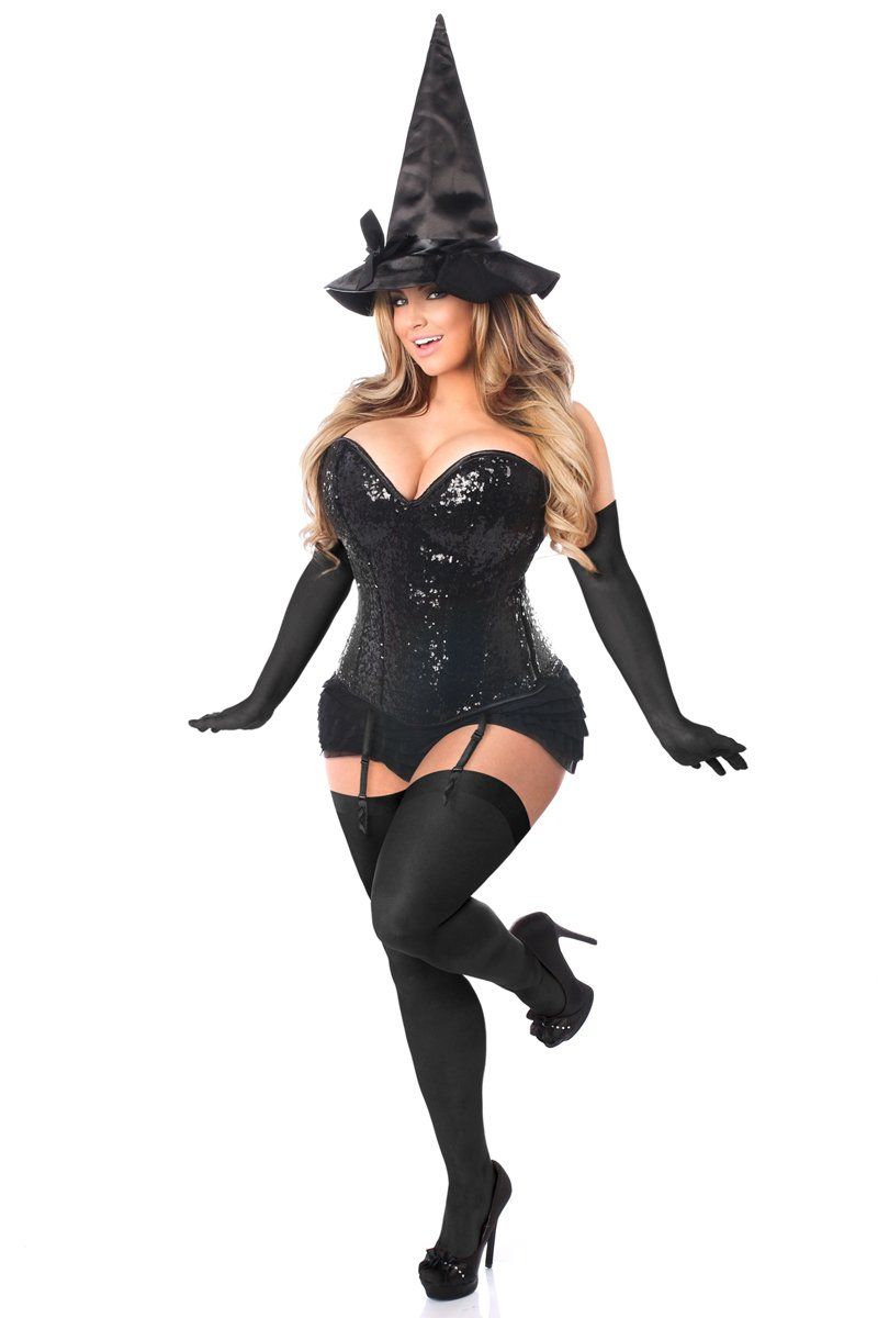 Daisy Corsets Women's Top Drawer 4 Pc Sequin Witch Corset Costume, Black, 3X