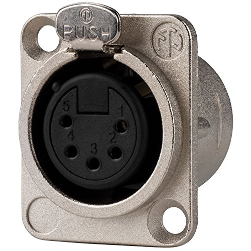 Neutrik NC5FD-L-1 5 Pin XLR DMX Female Panel Mount D Series ()