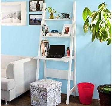 Escritorio de Pared Escalera portátil hogar Oficina Moderna Pantalla estantería de Almacenamiento Mesa Blanco: Amazon.es: Electrónica