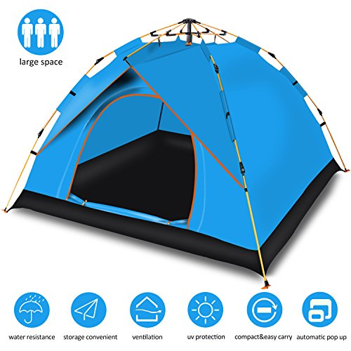 (Cheryu Automatic Hydraulic Family Camping Tent,Portable and Waterproof Instant Pop Up Backpacking Tents for 3-4 Person Outdoor Rainproof Camping,Great for Picnic,Hiking,Beach,Fishing,Travel (Blue))