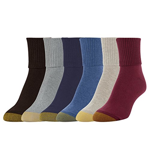 (Gold Toe Women's 6-Pack Turn Cuff Sock Brown Blue Mix Shoe Size 6-9/Sock Size 9-11)