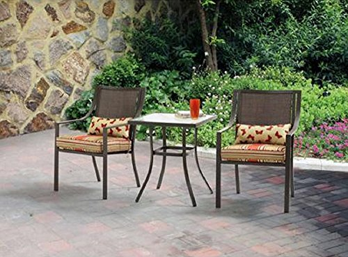 Alexandra Square 3-Piece Outdoor Bistro Set Red Stripe with Butterflies Seats 2 Outdoors Relax Grill sun poarch For Sale