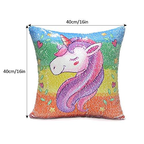Icosy Unicorn Throw Pillow Cover Mermaid Unicorn Printed Pillowcase Reversible Sequins