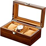 ANHPI Wooden Watches Box 3 Slots Watch Jewelry Display Storage Boxes with Glass Top and Removal Storage Pillows with Lockable Keys,A