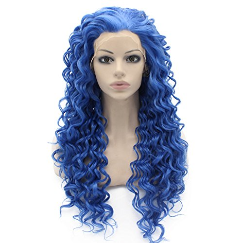 Blue Curly Lace Front Synthetic Hair Wig Celebrity Natural Stylish Wig Blue Curly At Mxangel