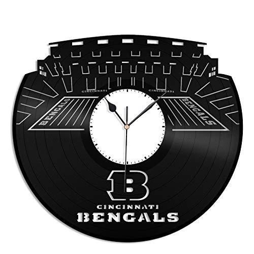 VinylShopUS - Cincinnati Bengals Vinyl Wall Clock Sports Clock Unique Decor Wall | Unique Gift for Football Lovers | Home Room Decoration