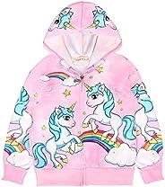 Girl Unicorn Zip Hoodie Cartoon Sweatshirt Kids Coat Outwear Jacket for School Casual