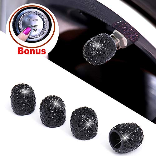 Alusbell Tyre Valve Dust Caps for Car, Motorbike, Trucks, Bike and Bicycle Crystal Rhinestone Tire Valve Dust-Proof Caps Bling Car Accessories Universal Fit