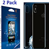 [2 Pack] iPhone X Screen Protector [Olny for Back], [No Glass], Nacodex [100% Full Cover] [No Foam] [Anti Scratch] High Definition Screen Protector For iPhone X ,Anti-Bubble Lifetime Replacement