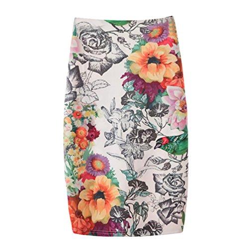 Yuanu Femme Doux Confortable Jupe Courte Serre Mode Impression Numrique Zipper Jupe Moulante Impression Style 4