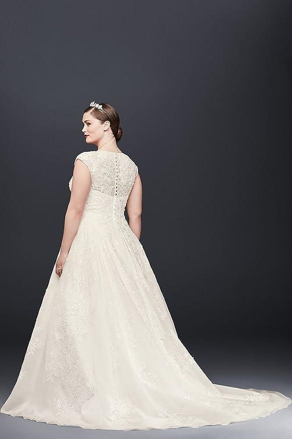 3abb8d84b66 Oleg Cassini Plus Size Ball Gown Wedding Dress Style 8CWG748 at Amazon  Women s Clothing store