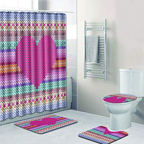 certainPL Loving Heart Shower Curtain Liner Waterproof Fabric Shower Curtains & Non Slip Bath Rug Mat Set of 4 (D)