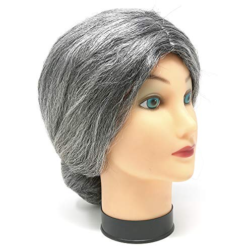 Skeleteen Old Lady Costume Wig - Silver Granny Bun Wig Costume Accessories - 1 Piece - http://coolthings.us