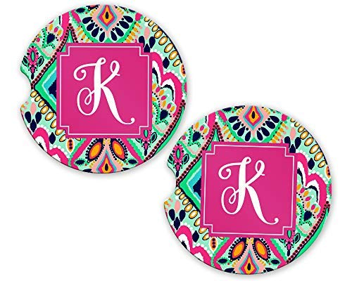 Monogrammed Car Coasters | Initial K | 2.56