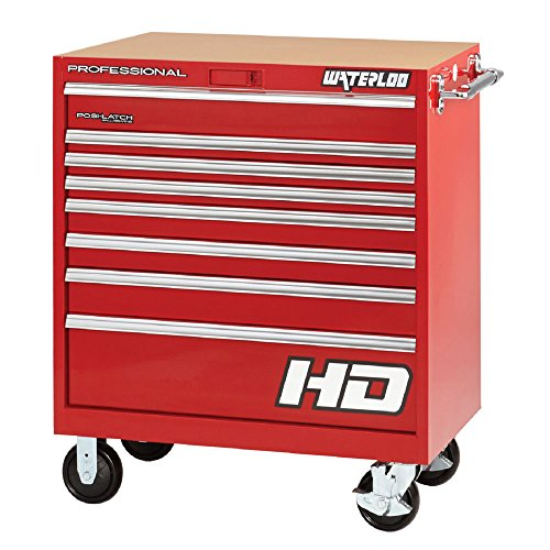 Waterloo PCA-36821RD Professional HD Series 8-Drawer Rolling Tool Cabinet, Red Finish, 36