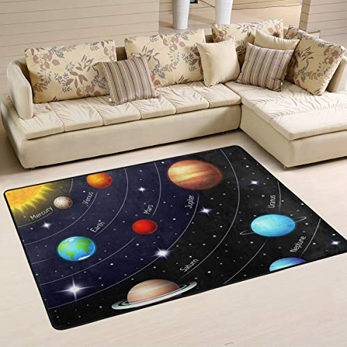 XiangHeFu Personalized Area Rugs Art Sun Universe Galaxy Solar System 3'x2' (36x24 Inches) Floor Doormats Mat Soft for Living Room Bedroom Home Kitchen Decorative