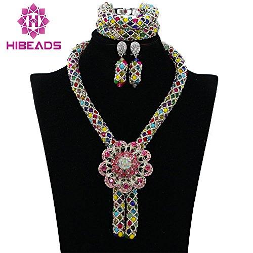 elry Set Nigerian Wedding African Beads Set Crystal Braid Women Necklace Set (8) (Handmade Costume Jewelry)