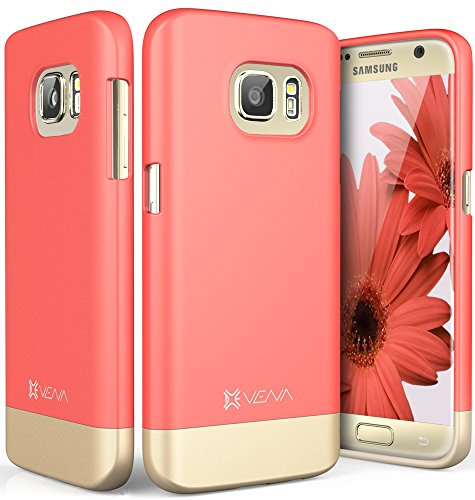 Galaxy S7 Case, Vena [iSlide][Two-Tone] Dock-Friendly Slim Fit Hard Case Cover for Samsung Galaxy S7 (Coral Red/Champagne Gold)