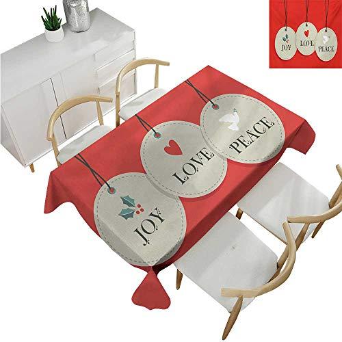 (familytaste Christmas,Outdoor Tablecloth,Joy Love and Peace Words Pendants Merry Christmas Holiday Celebration Theme,Tablecloth for Wedding 54