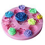 ULATREE Silicone Mould Rose Shape Fondant Sugar Chocolate Soap Craft Molds DIY Cake Decorating