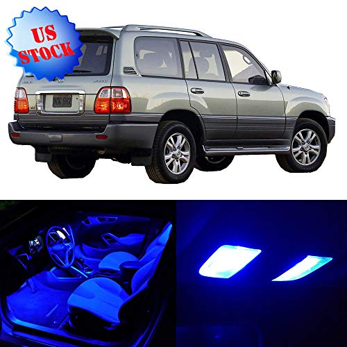 15 Pcs Blue Car Interior LED Bulbs Package Kits Dome Map Door Courtesy License Plate Lights Fits for 1999 2000 2001 2002 2003 2004 2005 2006 2007 Lexus LX470