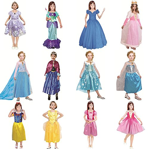 GINFun New Kids Girl Princess Dress Disney Costume Princess Halloween Party Cosplay Christmas Dresses (S, Snow (Disney Princess Snow White Infant Halloween Costume)