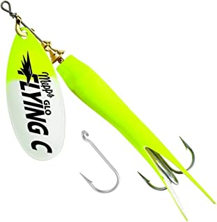 product image for Mepps Flying C Single/Treble Hook Fishing Lure, 7/8-Oz, Hot Chartreuse Sleeve/Glo Blade