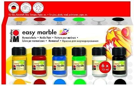 /marmorier Colore Easy Marble Set Set Completo con spiedini e kunststoffeiern Funny Easter Box per kinderleichtes marmorieren Marabu 1305000000094/