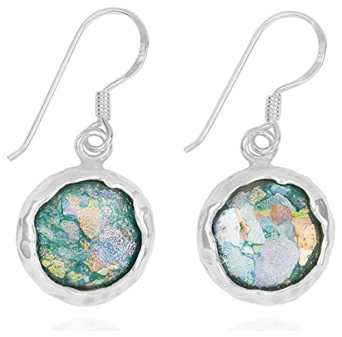 (Sterling Silver Round Shape Roman Glass French Wire Earrings (BTTS-NEA3740-RG))