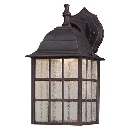 Weathered Cast - Westinghouse 6400000 LED Exterior Wall Lantern, Weathered Patina Finish on Cast Aluminum with Seeded Glass Panels
