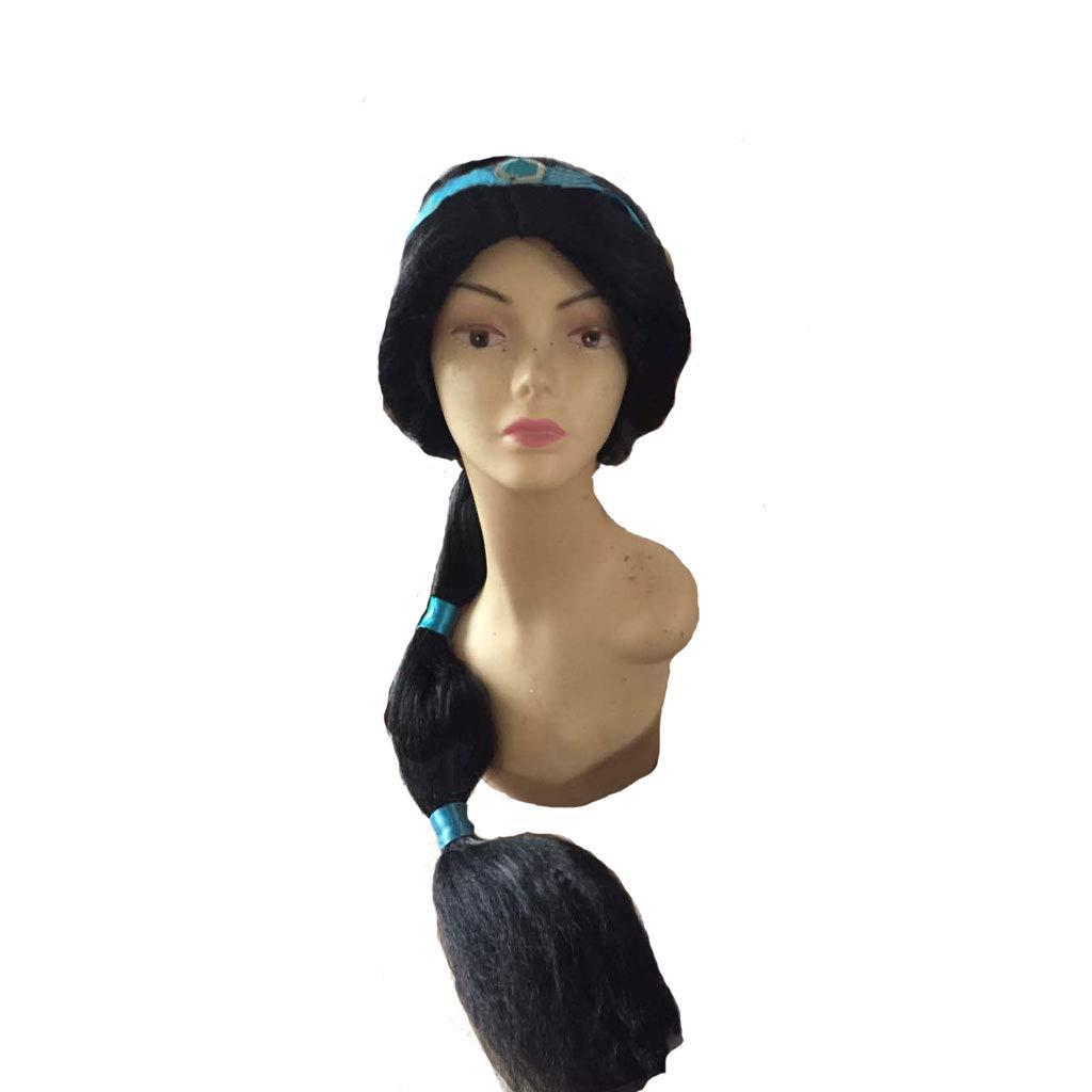Peluca Chica, Moda Jasmine Princesa Peluca Cosplay Pelo Largo Negro de Alta Calidad: Amazon.es: Belleza