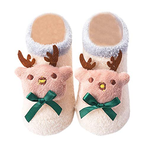 (Vacally Toddler Socks Infant Baby Cute Cartoon Christmas Xmas Winter Step Shoes Thicken Plush Warm Socks Christmas Gifts)