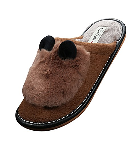 Cattior Womens Cute Warm Bunny Slippers House Indoor Slippers Brown