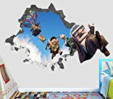 Up Movie Disney Pixar Carl Russel Paradise Falls Balloons Wall Decal Sticker Vinyl Decor Door Window Poster Mural - Broken Wall - 3D Designs - OP36 (Small (Wide 22'' x 12'' Height))