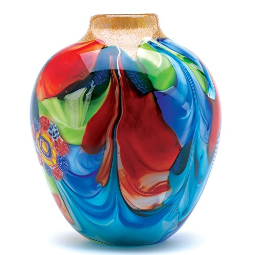 Peacock Oval Vase - Accent Plus Peacock Decor, Home Orange Small Glass Vases for Centerpiece, Multicolor