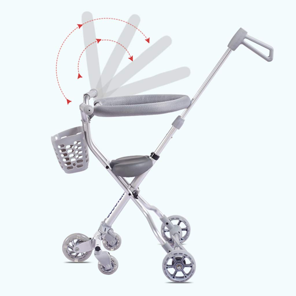 Baby Four-Wheeled Shatter-Resistant Lightweight Folding Children's Trolley Trend Adventure Travel System Range Aviation Aluminum Silver 6.3. (Color : Silver, Size : B) by Bbjinpin (Image #6)